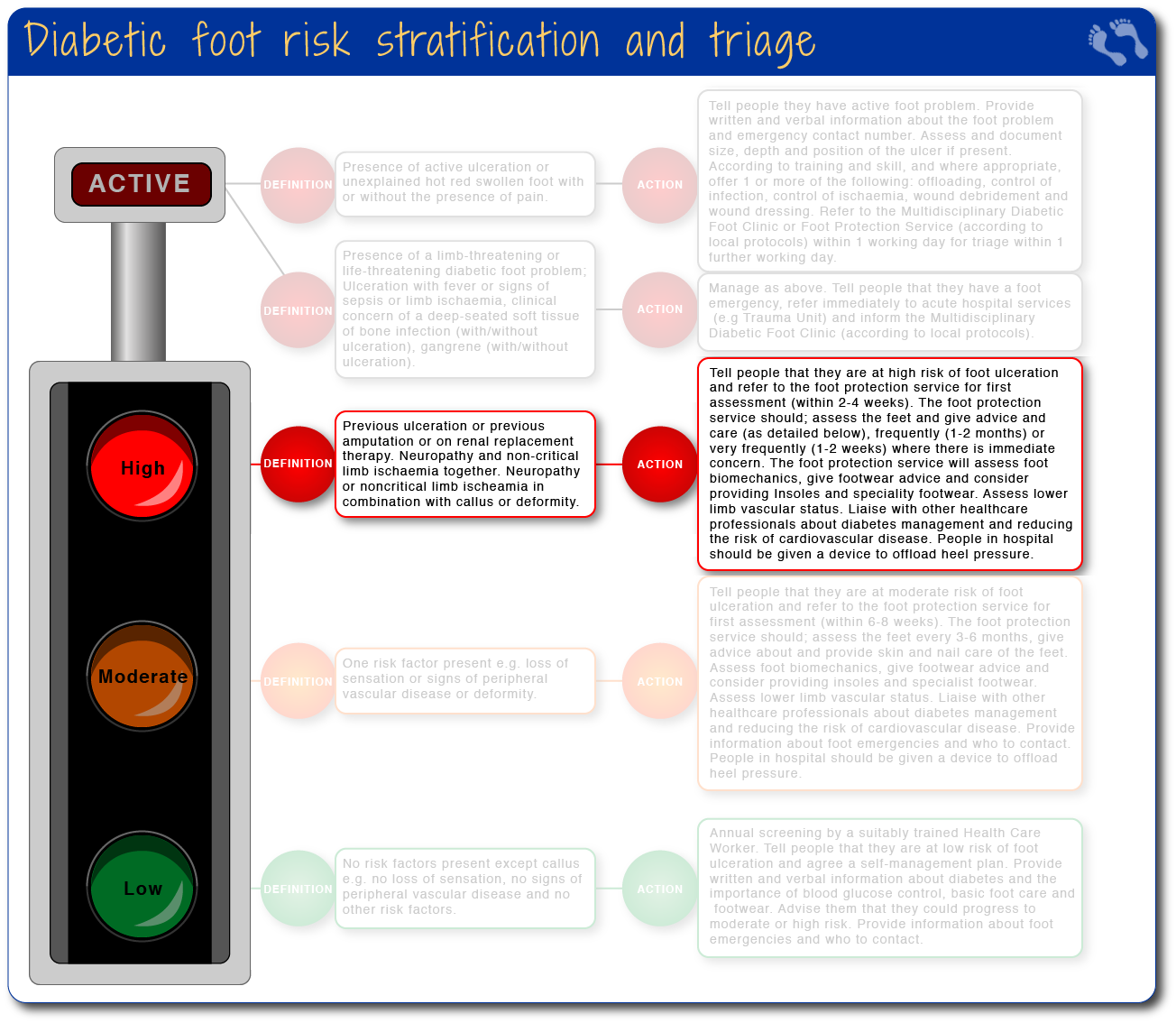 Diabetic foot risk stratification and triage - high risk
